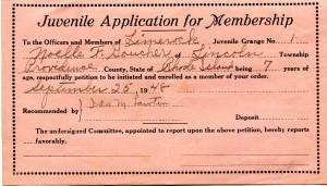 Noelle Goucher-membership to Juvenile Grange 1948